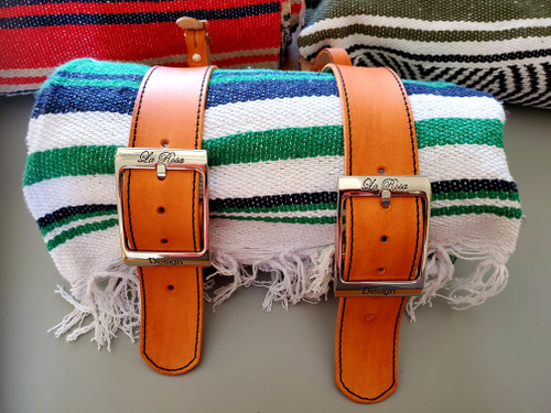 MOTORCYCLE MEXICAN VERA CRUZ SERAPE ROLL UP BLANKET TAN LEATHER BELTS GREEN NAVY WHITE