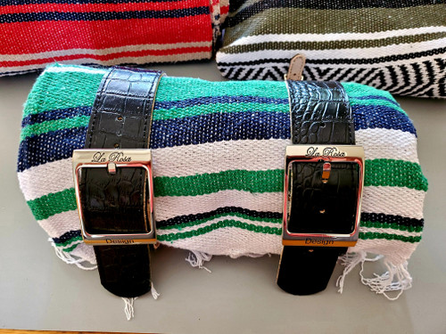MOTORCYCLE MEXICAN VERA CRUZ SERAPE ROLL UP BLANKET ALLIGATOR LEATHER BELTS GREEN NAVY WHITE