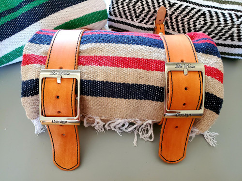 MOTORCYCLE MEXICAN VERA CRUZ SERAPE ROLL UP BLANKET TAN LEATHER BELTS RED TAN NAVY