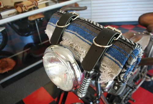 MOTORCYCLE MEXICAN VERA CRUZ SERAPE ROLL UP BLANKET TAN LEATHER BELTS OLIVE WHITE BLACK