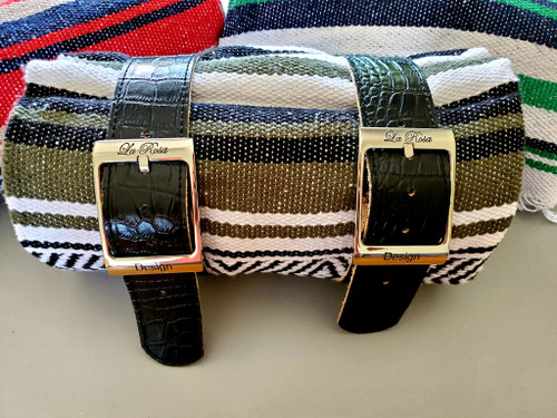 MOTORCYCLE MEXICAN VERA CRUZ SERAPE ROLL UP BLANKET ALLIGATOR LEATHER BELTS OLIVE WHITE BLACK