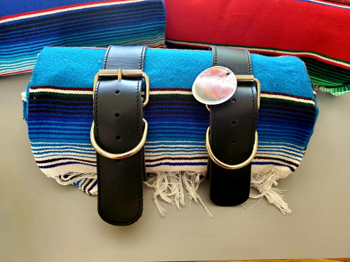 MOTORCYCLE MEXICAN AUTHENTIC SERAPE ROLLUP BLANKET BLACK LEATHER BELTS TEAL