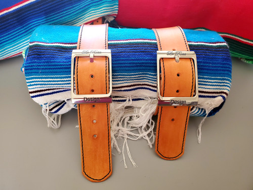 MOTORCYCLE MEXICAN AUTHENTIC SERAPE ROLLUP BLANKET TAN LEATHER BELTS TEAL