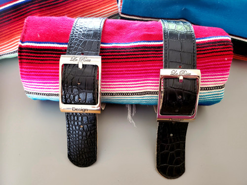 MOTORCYCLE MEXICAN AUTHENTIC SERAPE ROLLUP BLANKET ALLIGATOR LEATHER BELTS RED