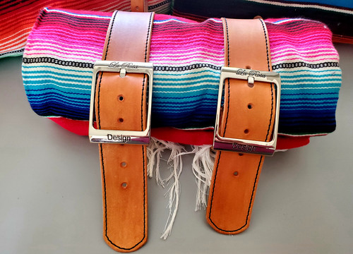 MOTORCYCLE MEXICAN AUTHENTIC SERAPE ROLLUP BLANKET TAN LEATHER BELTS RED