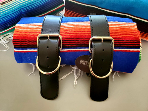 MOTORCYCLE MEXICAN AUTHENTIC SERAPE ROLLUP BLANKET BLACK LEATHER BELTS COBALT