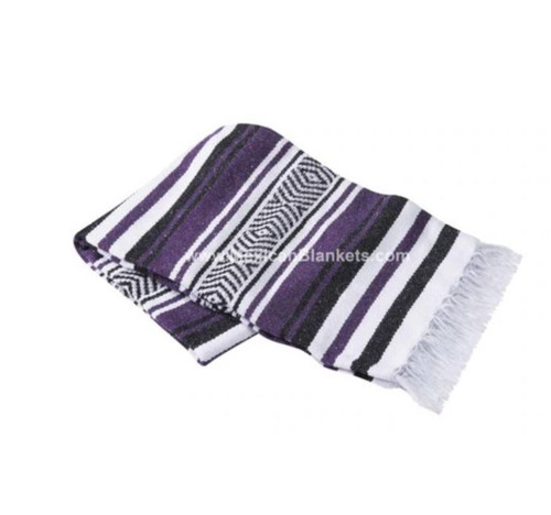 Purple, White and Black Vera Cruz Mexican Blanket