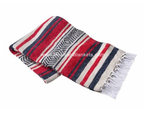 Red, Tan, and Navy Vera Cruz Mexican Blanket