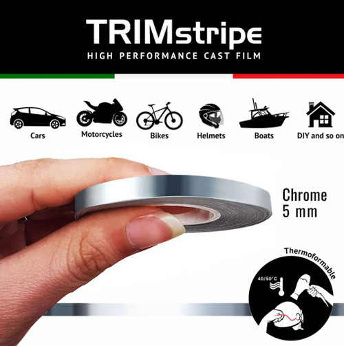 CHROME MOTORCYCLE WHEEL RIM TAPE STRIPE  5MM CHROME ITALIAN MADE IN ITALY