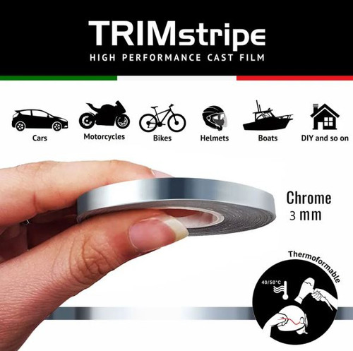 CHROME MOTORCYCLE WHEEL RIM TAPE STRIPE 3MM CHROME ITALIAN MADE IN ITALY