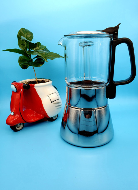 STAINLESS STEEL CRYSTAL GLASS MOKA POT STOVE TOP ESPRESSO MAKER 240ml  6 CUP WITH CRYSTAL STEM