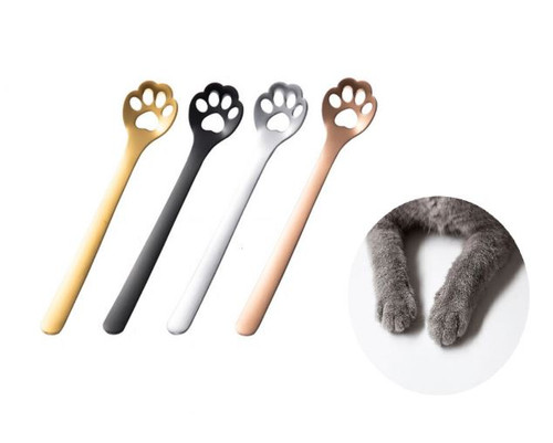 CATS PAW COFFEE SPOON TEASPOON STAINLESS STEEL SET OF FOUR 4