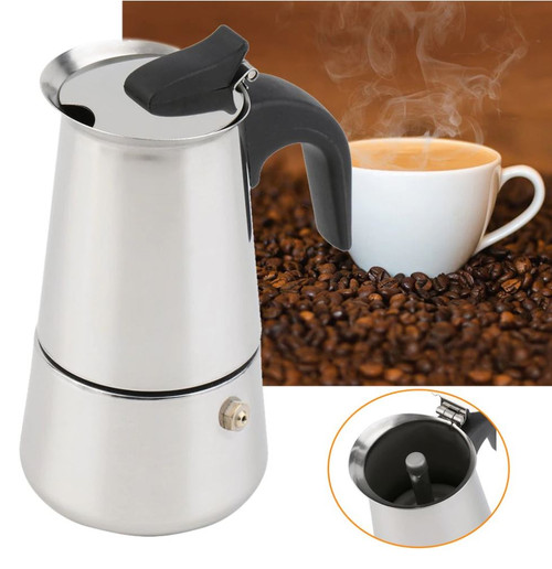 STAINLESS STEEL MOKA POT STOVE TOP ESPRESSO MAKER 80ml 2 CUP