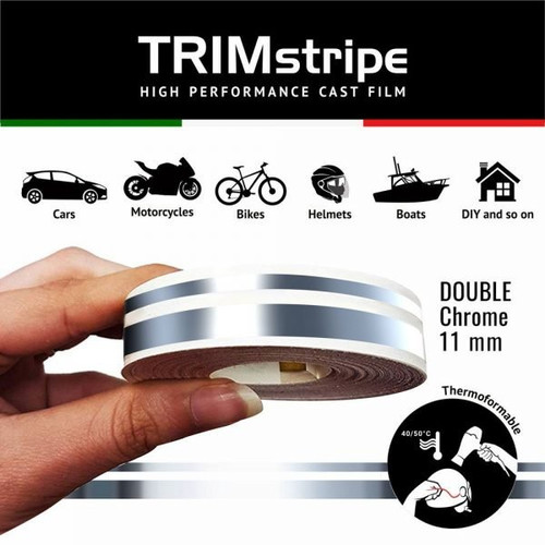CHROME AUTOMOTIVE MOTORCYCLE 11mm DOUBLE TRIM TAPE DETAIL PINSTRIPE ADHESIVE VINYL
