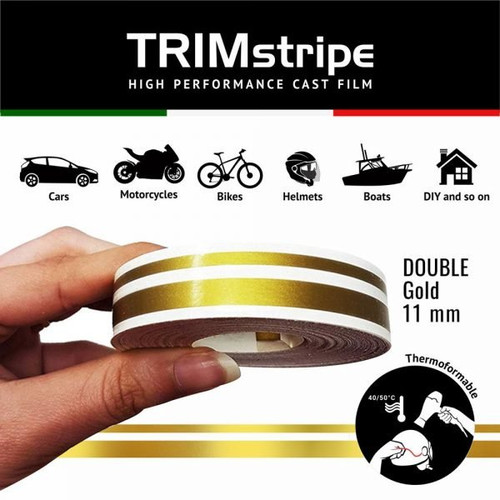 GOLD AUTOMOTIVE MOTORCYCLE 11mm DOUBLE TRIM TAPE DETAIL PINSTRIPE ADHESIVE VINYL