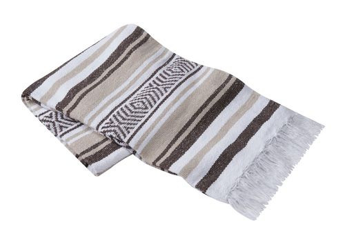 Dark Brown, Tan, and White Vera Cruz Mexican Blanket