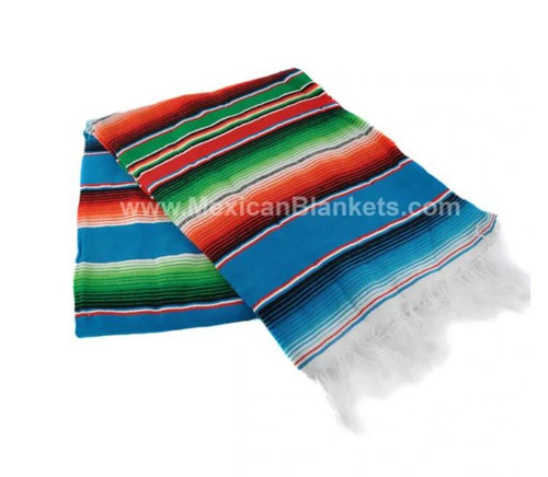 TEAL Authentic Mexican Serape Blanket - Teal