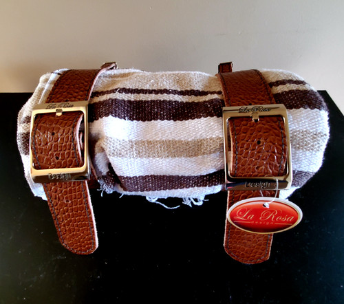 MOTORCYCLE MEXICAN VERA CRUZ  BROWN SERAPE ROLL UP BLANKET BROWN ALLIGATOR COWHIDE BELT