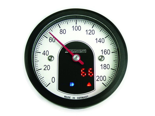 UNIVERSAL MOTORCYCLE ANALOG GAUGE SPEEDOMETER MOTOSCOPE TINY (mst) MOTOGADGET BLACK CASING AND BEZEL