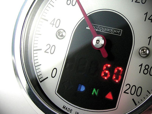 UNIVERSAL MOTORCYCLE ANALOG GAUGE SPEEDOMETER MOTOSCOPE TINY (mst) POLISHED BEZEL MOTOGADGET