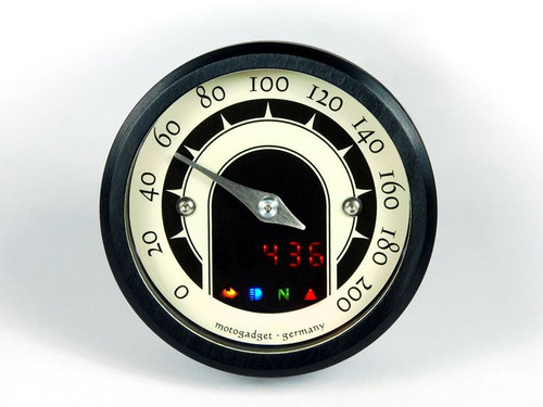 UNIVERSAL MOTORCYCLE ANALOG GAUGE SPEEDOMETER MOTOSCOPE TINY  SPEEDSTER (mst) BLACK  BEZEL MOTOGADGET