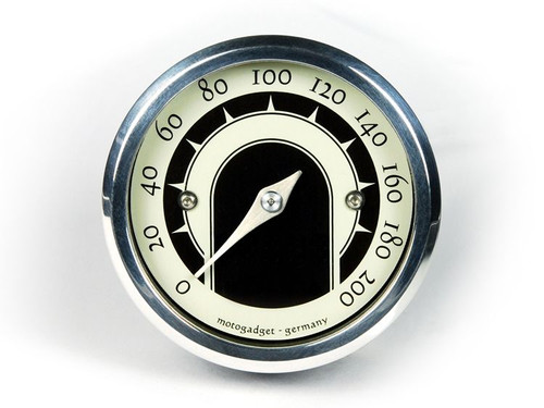 UNIVERSAL MOTORCYCLE ANALOG GAUGE SPEEDOMETER MOTOSCOPE TINY  SPEEDSTER (mst) POLISHED BEZEL MOTOGADGET