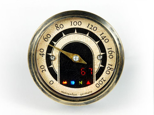 UNIVERSAL MOTORCYCLE ANALOG GAUGE SPEEDOMETER MOTOSCOPE TINY  SPEEDSTER (mst) BRASS BEZEL MOTOGADGET