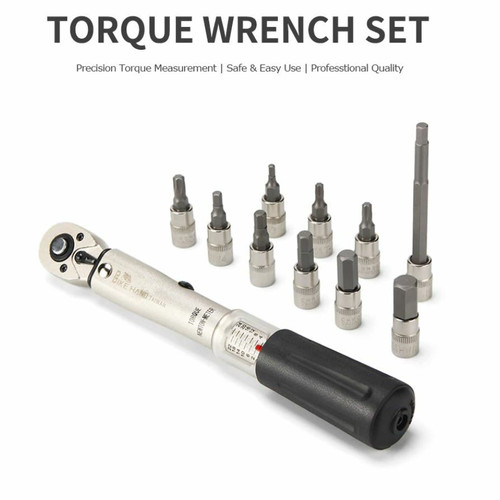 "1/4"" Drive Click Torque Wrench Set 2 to 24 Nm Motorcycle Maintenance Tool Kit Road & MTB Bikes Motorcycle Allen & Torx Sockets"