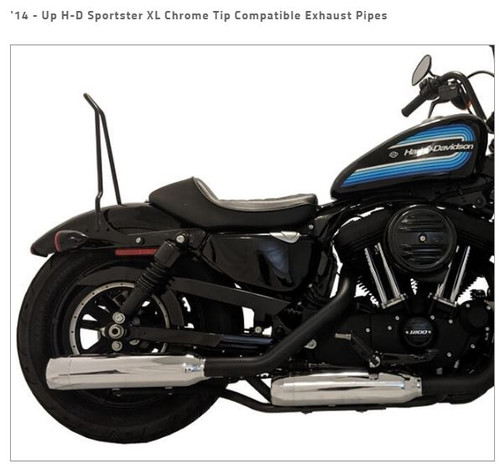 TAB PERFOMRANCE FITS HARLEY DAVIDSON SPORTSTER  XL 2014 - UP CHROME TIP COMPATIBLE EXHAUST PIPES