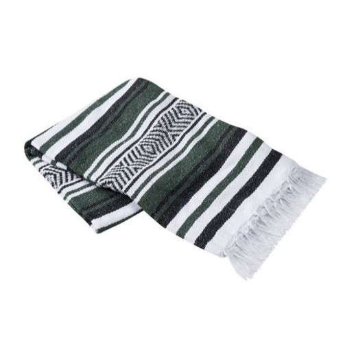 Kelly Green, Navy, and White Vera Cruz Mexican Blanket