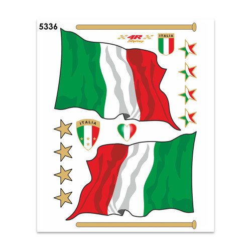 """ITALIAN FLAG STICKERS  FLAGS ITALIA STYLIZED SET OF 2  8"""" x 4"""" MADE IN ITALY"""