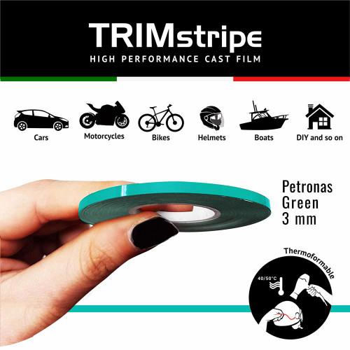 GREEN PETRONAS AUTOMOTIVE MOTORCYCLE 3mm TRIM PIN TAPE DETAIL PINSTRIPE ADHESIVE VINYL