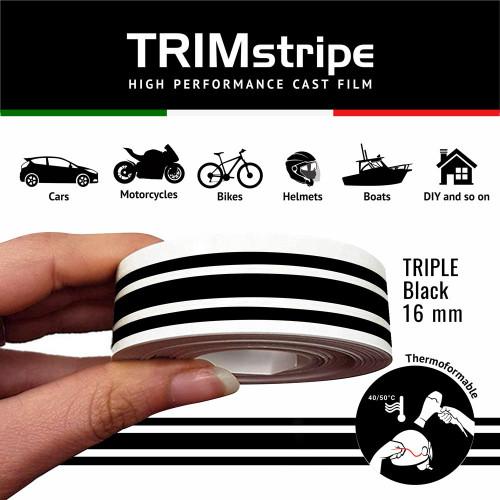 BLACK AUTOMOTIVE MOTORCYCLE 16mm 3 stripe TRIM TAPE DETAIL PINSTRIPE ADHESIVE VINYL