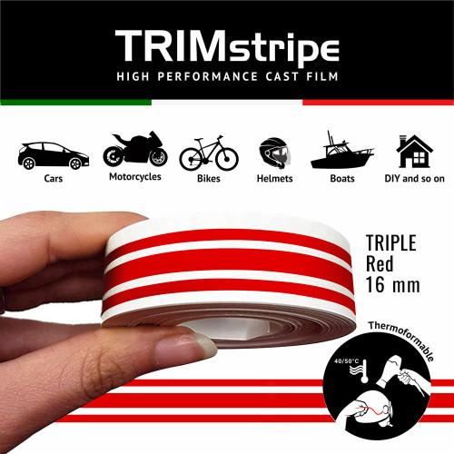 RED AUTOMOTIVE MOTORCYCLE 16mm 3 stripe TRIM TAPE DETAIL PINSTRIPE ADHESIVE VINYL