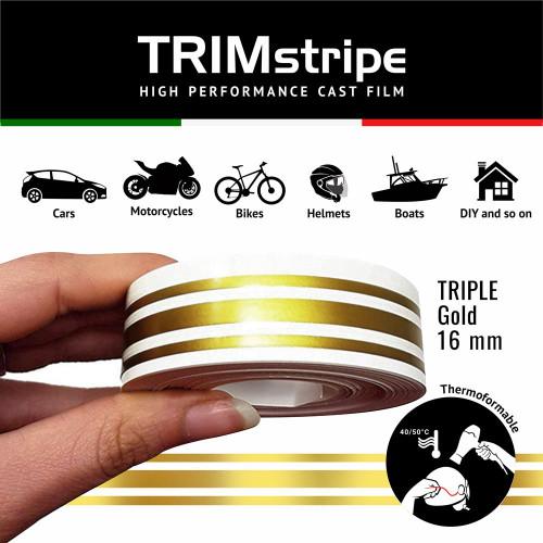 GOLD AUTOMOTIVE MOTORCYCLE 16mm 3 stripe TRIM TAPE DETAIL PINSTRIPE ADHESIVE VINYL