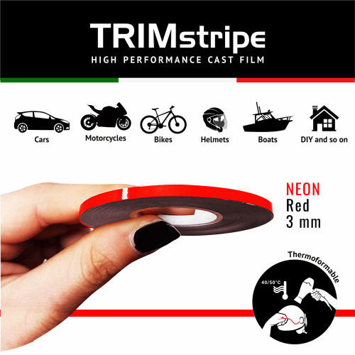 RED NEON  AUTOMOTIVE MOTORCYCLE  TRIM  PINSTRIPE  3mm x 10mt REFLECTIVE VINYL SELF ADHESIVE MADE IN ITALY
