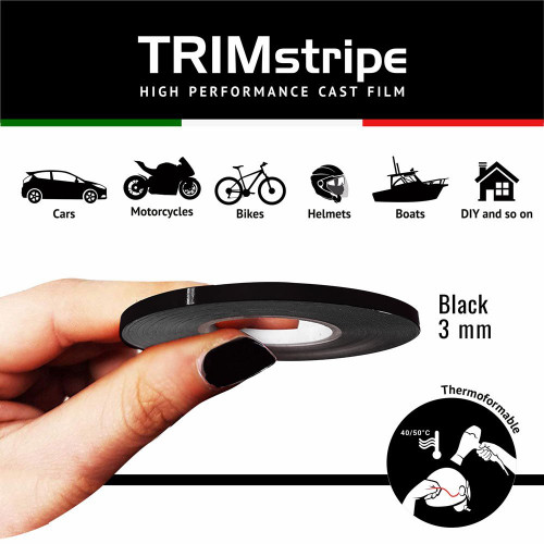 BLACK AUTOMOTIVE MOTORCYCLE TRIM PINSTRIPE  3mm x 10mt REFLECTIVE VINYL SELF ADHESIVE MADE IN ITALY
