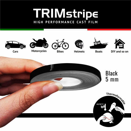 BLACK AUTOMOTIVE MOTORCYCLE TRIM PINSTRIPE  5mm x 10mt REFLECTIVE VINYL SELF ADHESIVE MADE IN ITALY