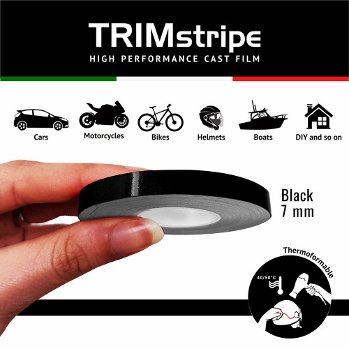 BLACK AUTOMOTIVE MOTORCYCLE TRIM PINSTRIPE  7mm x 10mt REFLECTIVE VINYL SELF ADHESIVE MADE IN ITALY