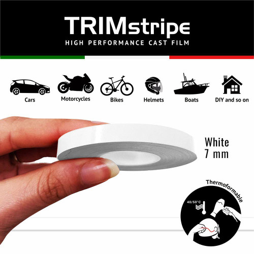 WHITE AUTOMOTIVE MOTORCYCLE TRIM PINSTRIPE  7mm x 10mt REFLECTIVE VINYL SELF ADHESIVE MADE IN ITALY