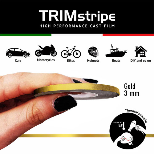 GOLD MOTORCYCLE WHEEL RIM TAPE STRIPE 3MM GOLD ITALIAN MADE IN ITALY