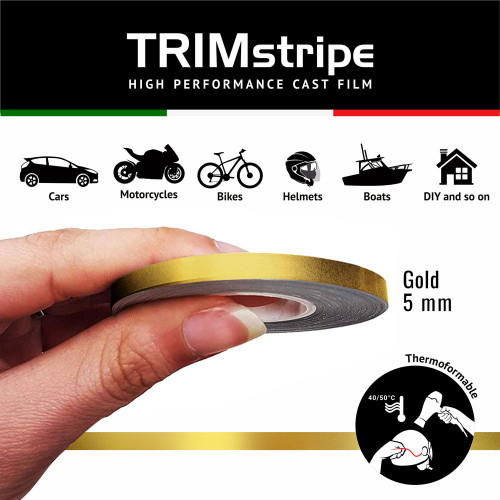 GOLD MOTORCYCLE WHEEL RIM TAPE STRIPE 5MM GOLD ITALIAN MADE IN ITALY