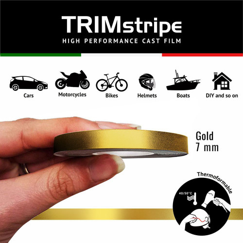 GOLD MOTORCYCLE WHEEL RIM TAPE STRIPE 7MM GOLD ITALIAN MADE IN ITALY