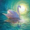 White Swan Energy Painting - Giclee Print