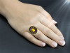 The Golden Lily Ring Of Divine Comfort - Citrine set in black petina solid 925 silver