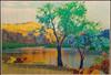 "Desert Oasis.  Original energy painting. 70"" x 40"" inches."