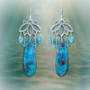 The Water Goddess Blessing Earrings -  Energy infused with a powerful blessing for you from the divine feminine.   Lotus Chandelier Design - Chrysocolla & Sea Green Apatite