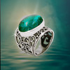 "The  Still Waters ""Peaceful Mind"" Ring  - Helps soothe the mind's worries, restore and heal the spirit with wise, calming energies … especially useful in times of trouble.* Chrysocolla and solid silver."