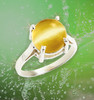 The Fountain Of Youth Ring  - Rare, authentic yellow cat's eye moonstone. Energy blessed by Julia to bring you youthful vitality