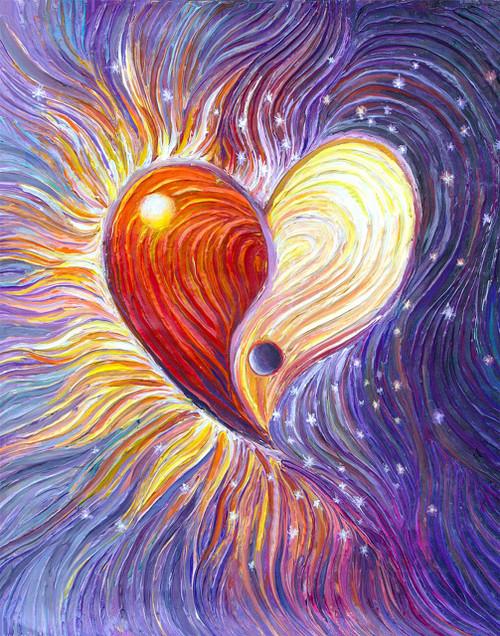 Yin Yang Heart Energy Painting - Giclee Print